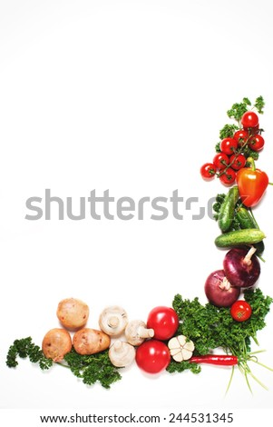 Colorful vegetable frame, healthy food concept.Vegetables isolated on white background. - stock photo