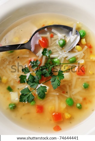 colorful vegetable soup with parsley - stock photo