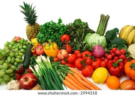 Colorful Vegetables and Fruits - stock photo