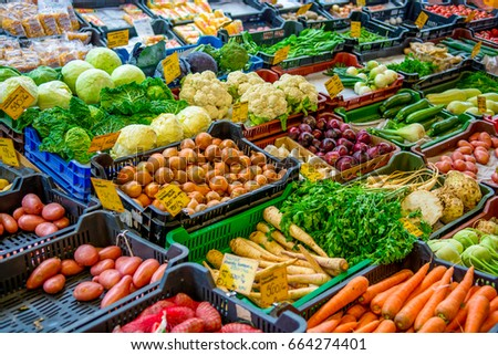 Colorful Vegetables at Market Stand
