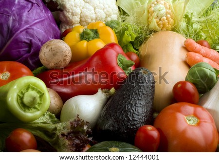 Colorful vegetables background close up. All in focus. - stock photo