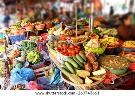 Colorful vegetables for sale  at the Central Market of  Hoi An, Vietnam - stock photo