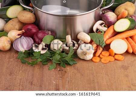 colorful vegetables in a steel pan