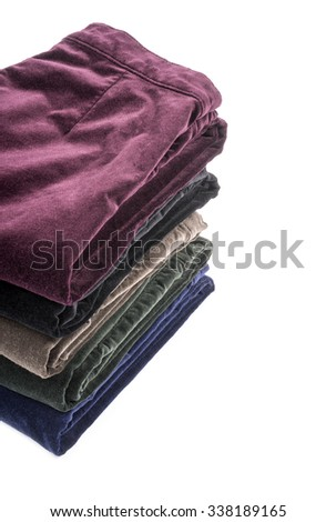 Colorful Velvet Pants Isolated on White - stock photo