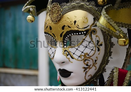 Colorful Venetian carnival mask - stock photo