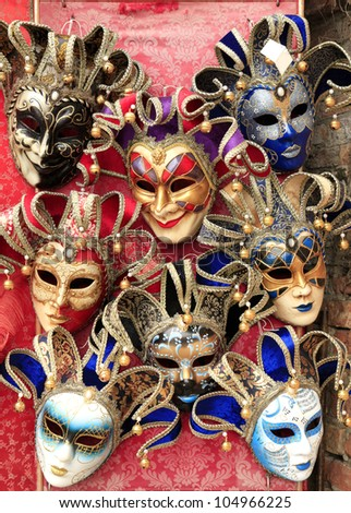Colorful Venetian Masks on Display Venice, Italy