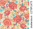 Colorful vibrant flowers seamless pattern background raster - stock photo