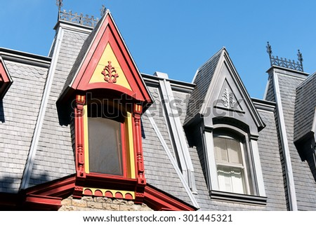 """Colorful victorian houses in Saint-Louis Square called """"Painted Ladies"""" in Montreal, Quebec, Canada - stock photo"""