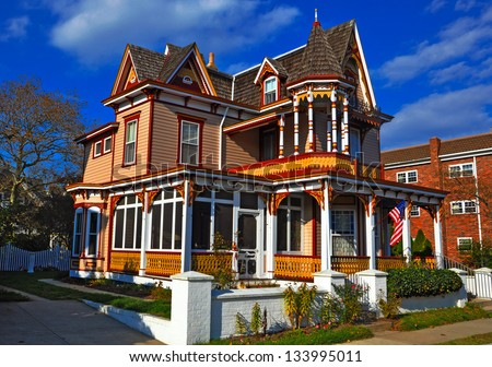 Colorful Victorian-style house in Cape May, New Jersey - stock photo