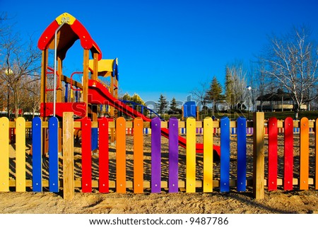 Colorful view of part of a kids playground - stock photo