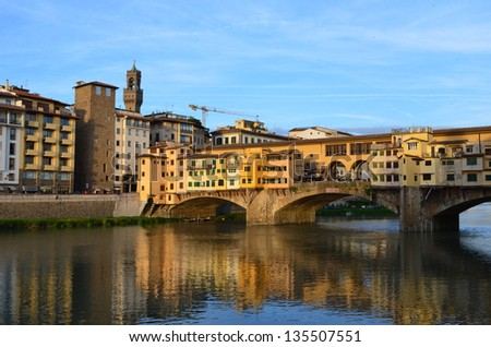 Colorful view of Ponte Vecchio, Florence, Italy - stock photo