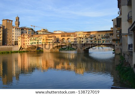 Colorful view of Ponte Vecchio, Florence, Italy