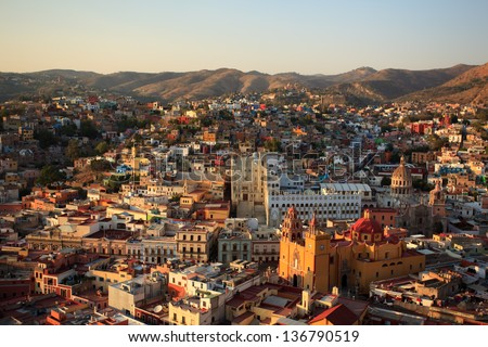 Colorful view of the city of Guanajuato, Mexico. - stock photo