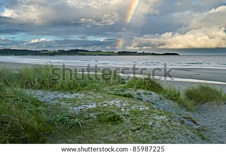 Colorful view on sandy coastal strip used for windsurfing, opposite Solo Strand hotel, Stavanger, Norway - stock photo
