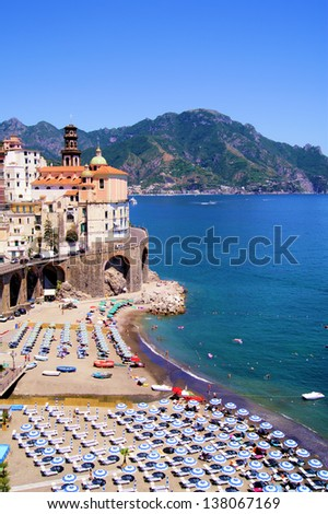 Colorful view over the beaches of the Amalfi Coast, Italy - stock photo
