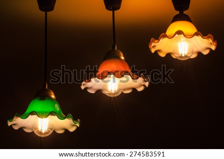 Colorful vintage ceiling lamp - stock photo