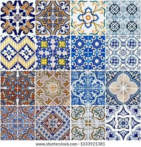 Colorful vintage ceramic tiles wall decoration.