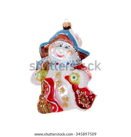 Colorful vintage christmas decoration isolated on a white background