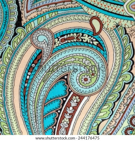 colorful vintage fabric with blue and brown paisley print, square image - stock photo