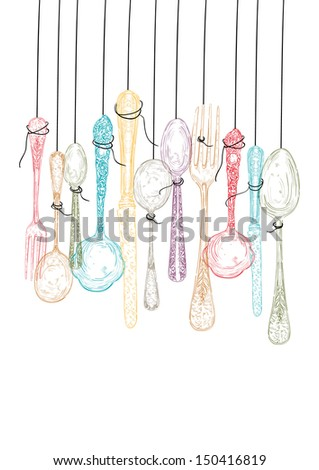 Colorful vintage hand drawn silverware hang icons illustration. - stock photo