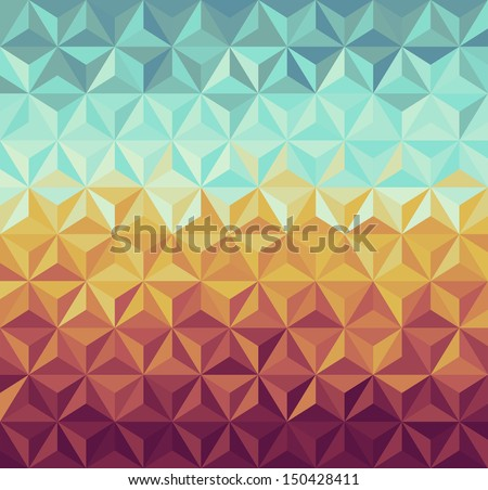 Colorful vintage hipsters triangle seamless pattern background. - stock photo