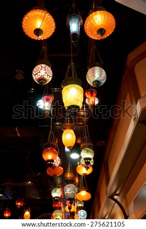 Colorful vintage lamps on the ceiling for interior decoration - stock photo