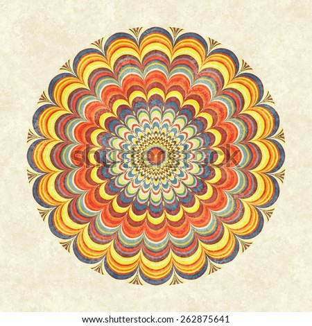 Colorful vintage round mandala. Circular fractal mandala with multicolored stripes in the grunge vintage style. - stock photo