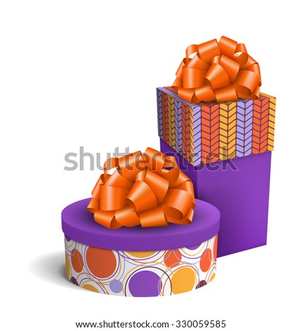 Colorful Violet and Orange Celebration Gift Boxes with Bows Isolated on White Background - stock photo