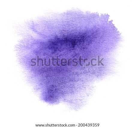 Colorful violet watercolour or ink stain with watercolor paint smudge - stock photo