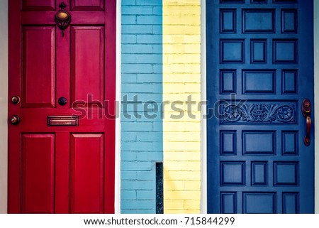 Colorful Virginia doors not sure if these neighbors are talking. & Door Two Windows Bright Yellow House Stock Photo 6943498 ... pezcame.com