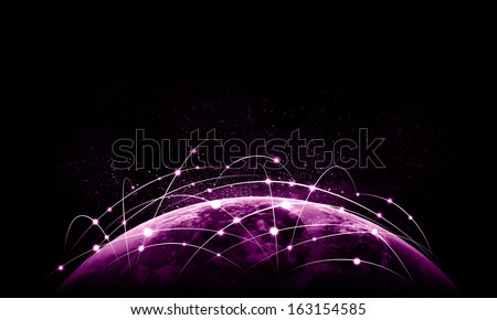 Colorful vivid image of globe. Globalization concept. Elements of this image are furnished by NASA - stock photo