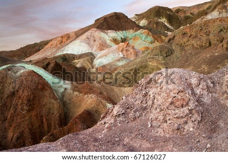 Colorful Volcanic Rock in Death Valley National Park  (Artist's Palette) - stock photo