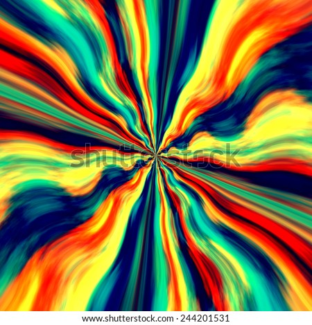 Colorful Vortex Background and Screensaver - Abstract Blue Orange Generative Art - Graffiti Spray Paint - Fantasy Illustration - Zoom Effect - Creative Design - Artistic Surreal Artwork - Dynamic Wave - stock photo