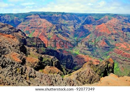 Colorful Waimea Canyon on the island of Kauai in Hawaii - stock photo