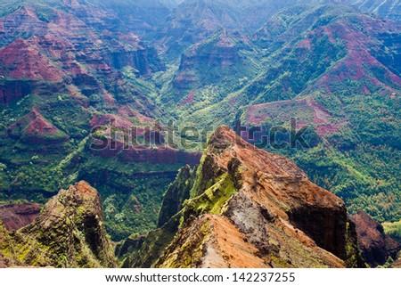 """Colorful Waimea Canyon --the """"Grand Canyon"""" on Kauai island, Hawaii - stock photo"""