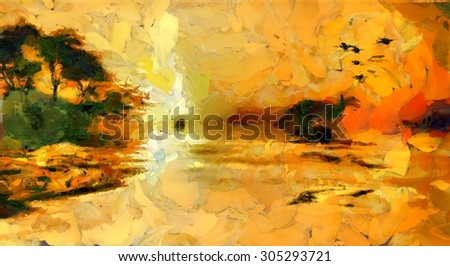Colorful Water Island Landscape Painting - stock photo