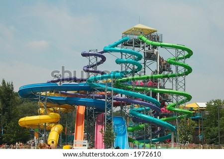 Colorful water park slides - stock photo