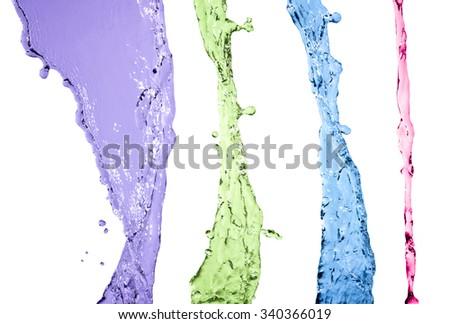 colorful water splash set isolated on white background - stock photo