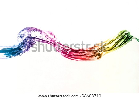 colorful water wave isolated - stock photo