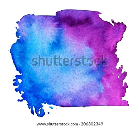 colorful watercolor banner on the white. - stock photo
