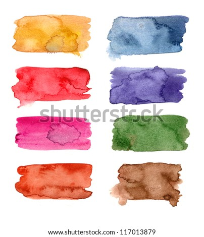 Colorful Watercolor banners for your design - stock photo