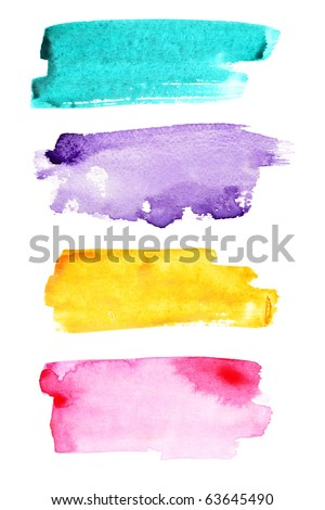Colorful watercolor brush strokes - stock photo