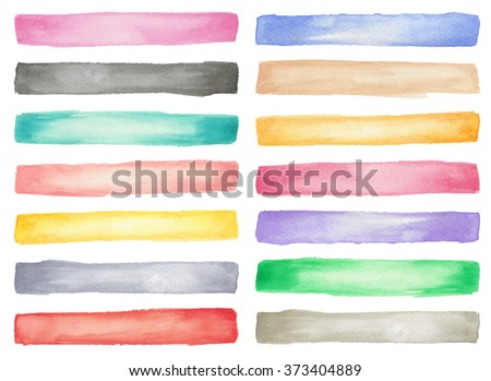 Colorful watercolor brush strokes collection