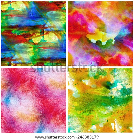 Colorful watercolor canvas set - stock photo