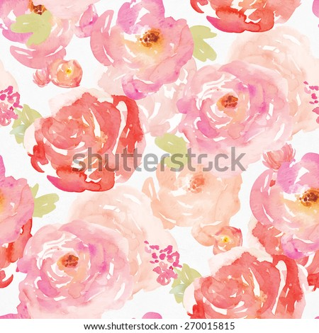 Colorful Watercolor Floral Background Pattern. Repeating Watercolor Flowers Pattern. - stock photo