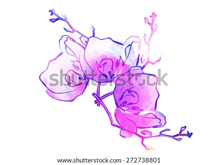 Colorful watercolor flower drawing for use in artistic background - stock photo