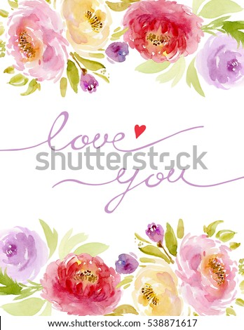 Colorful Watercolor Flower Frame Border On Stock Illustration ...