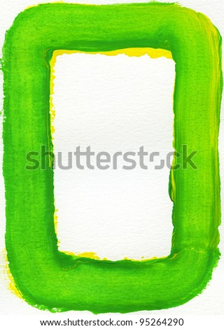 Colorful watercolor frame is on a white paper background.