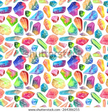 Colorful watercolor gem pattern, beautiful crystal Seamless pattern over white - stock photo