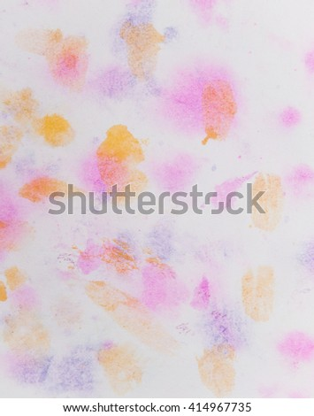 Colorful watercolor hand drawn paper texture torn splatter banner. Wet brush painted . Pink,blue, yellow artistic background. Design card, template, cover - stock photo